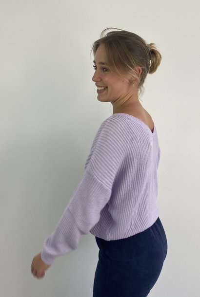 Leticia soft cotton knitted sweater Lila
