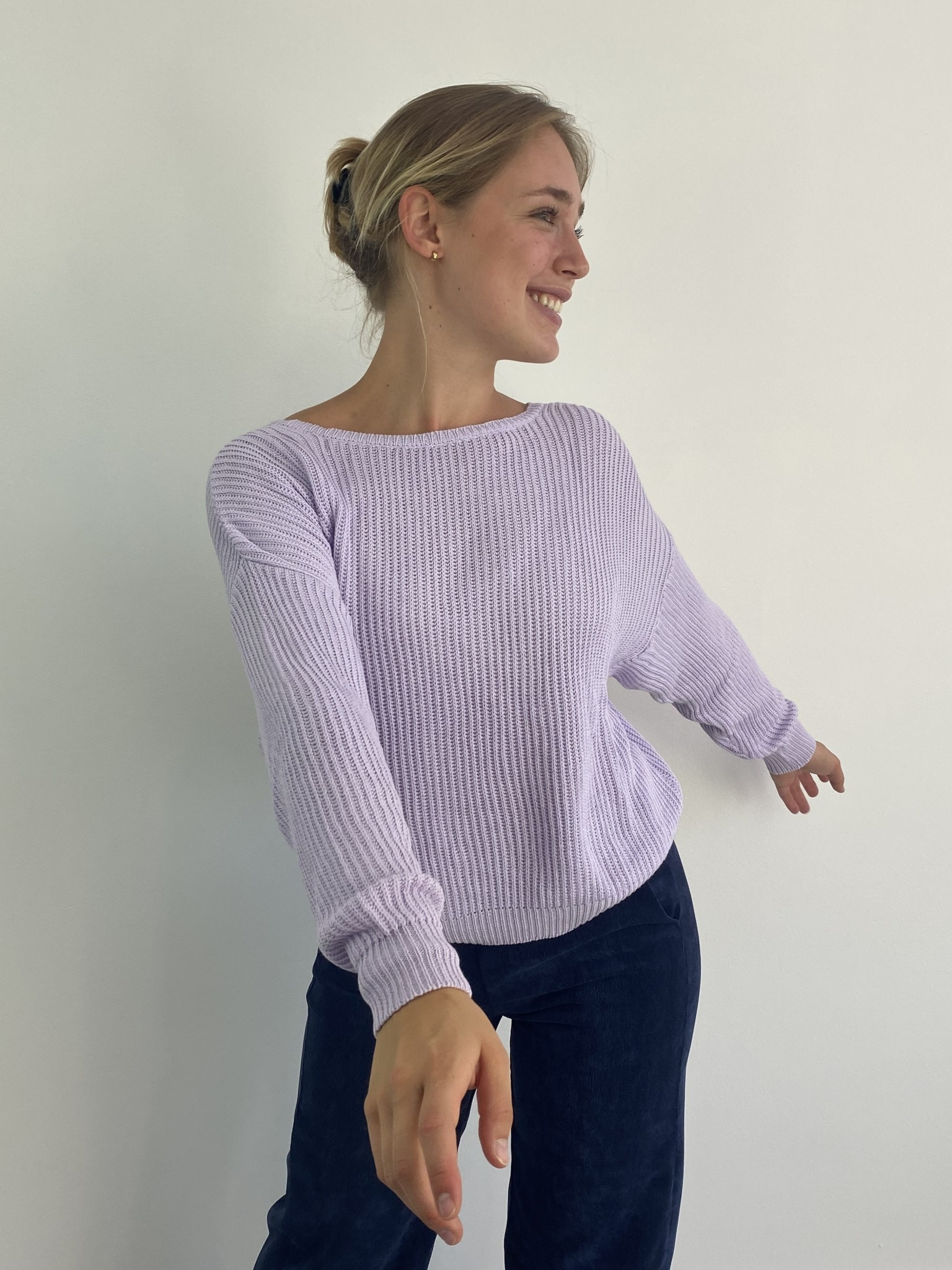 Leticia soft cotton knitted sweater Lila-2