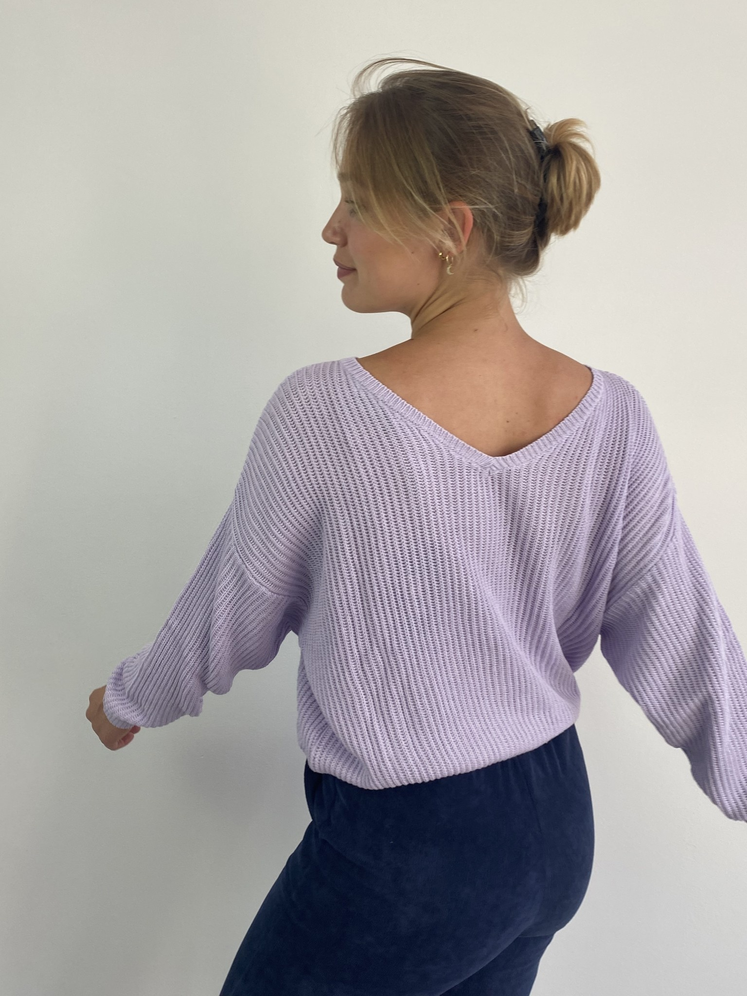 Leticia soft cotton knitted sweater Lila-3