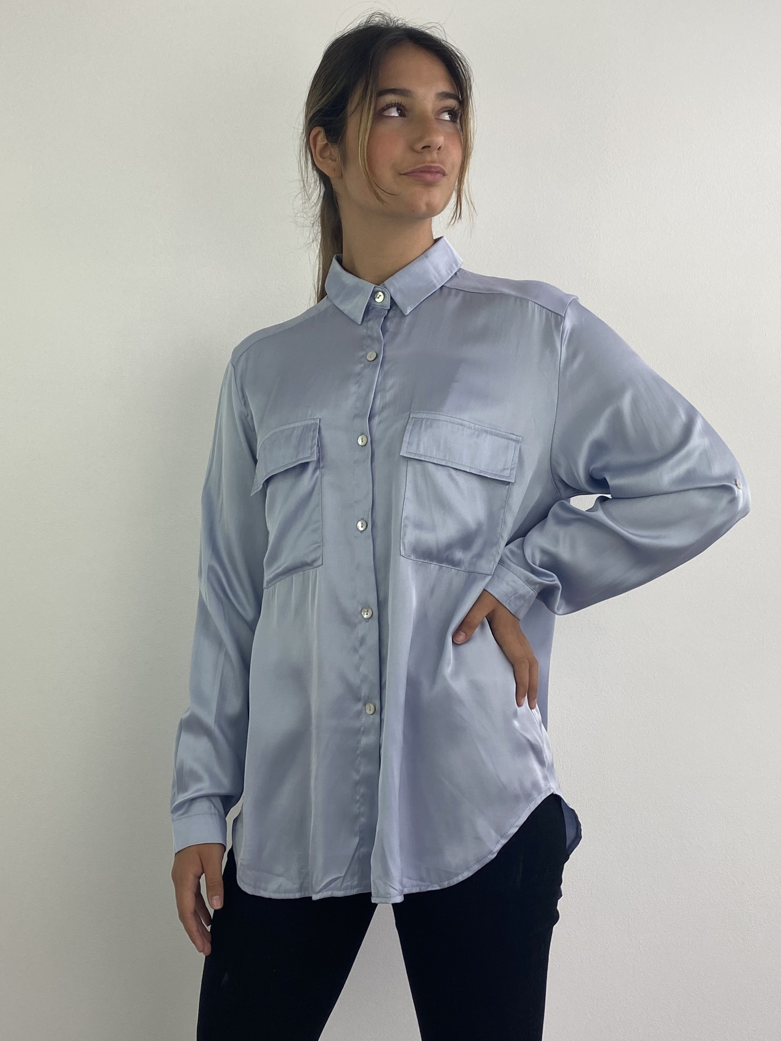 Naëlla satin blouse Light Blue-3