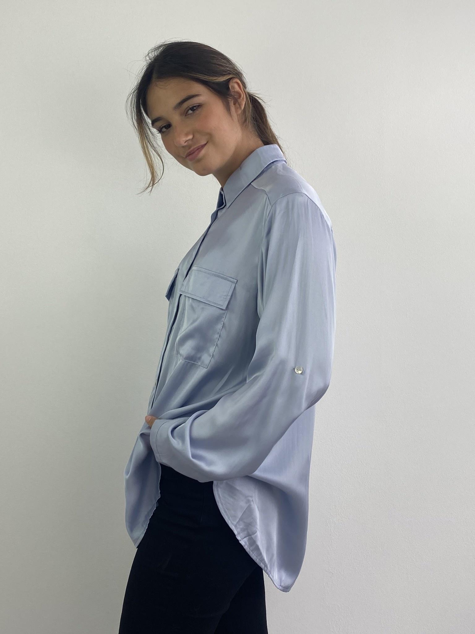 Naëlla satin blouse Light Blue-2