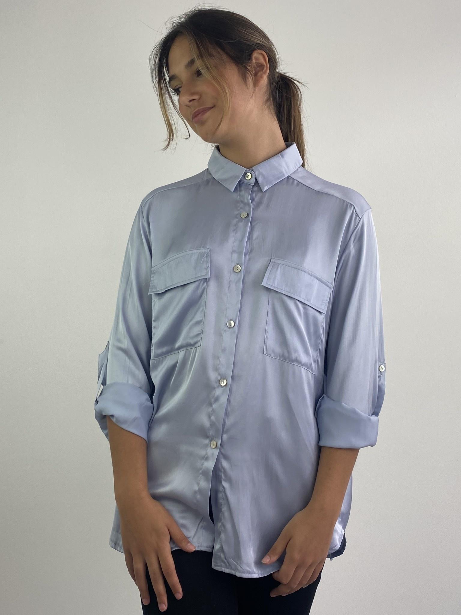Naëlla satin blouse Light Blue-4