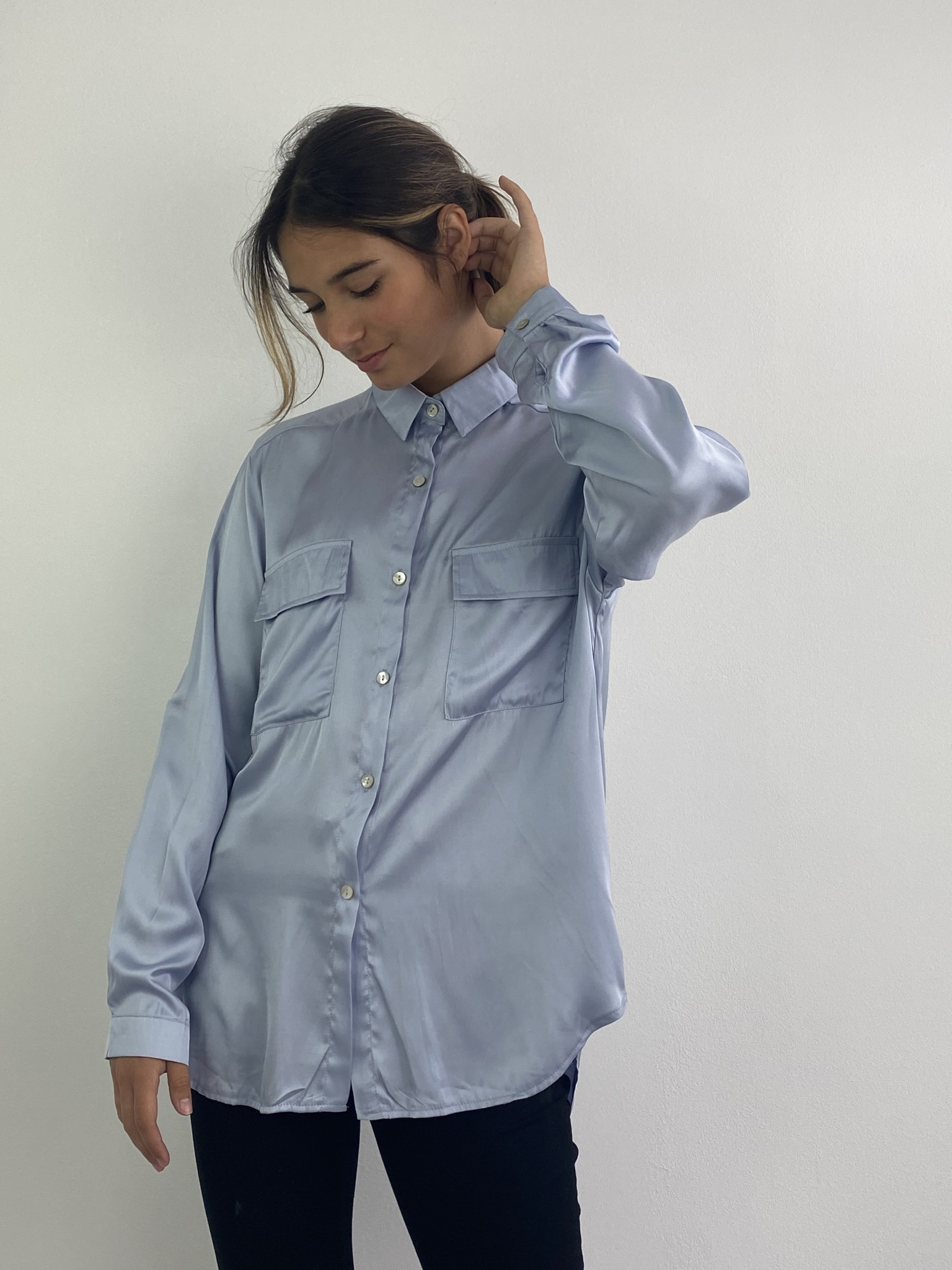 Naëlla satin blouse Light Blue-1