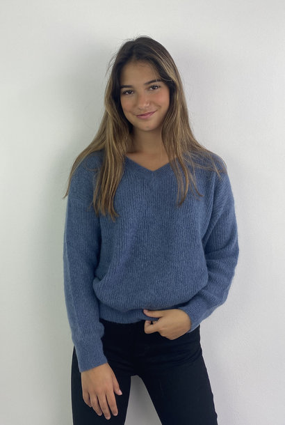 Louna v-neck knitted pull Denim