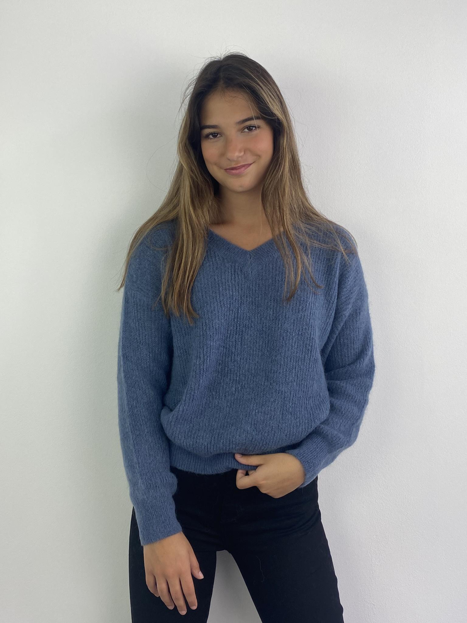 Louna v-neck knitted pull Denim-1