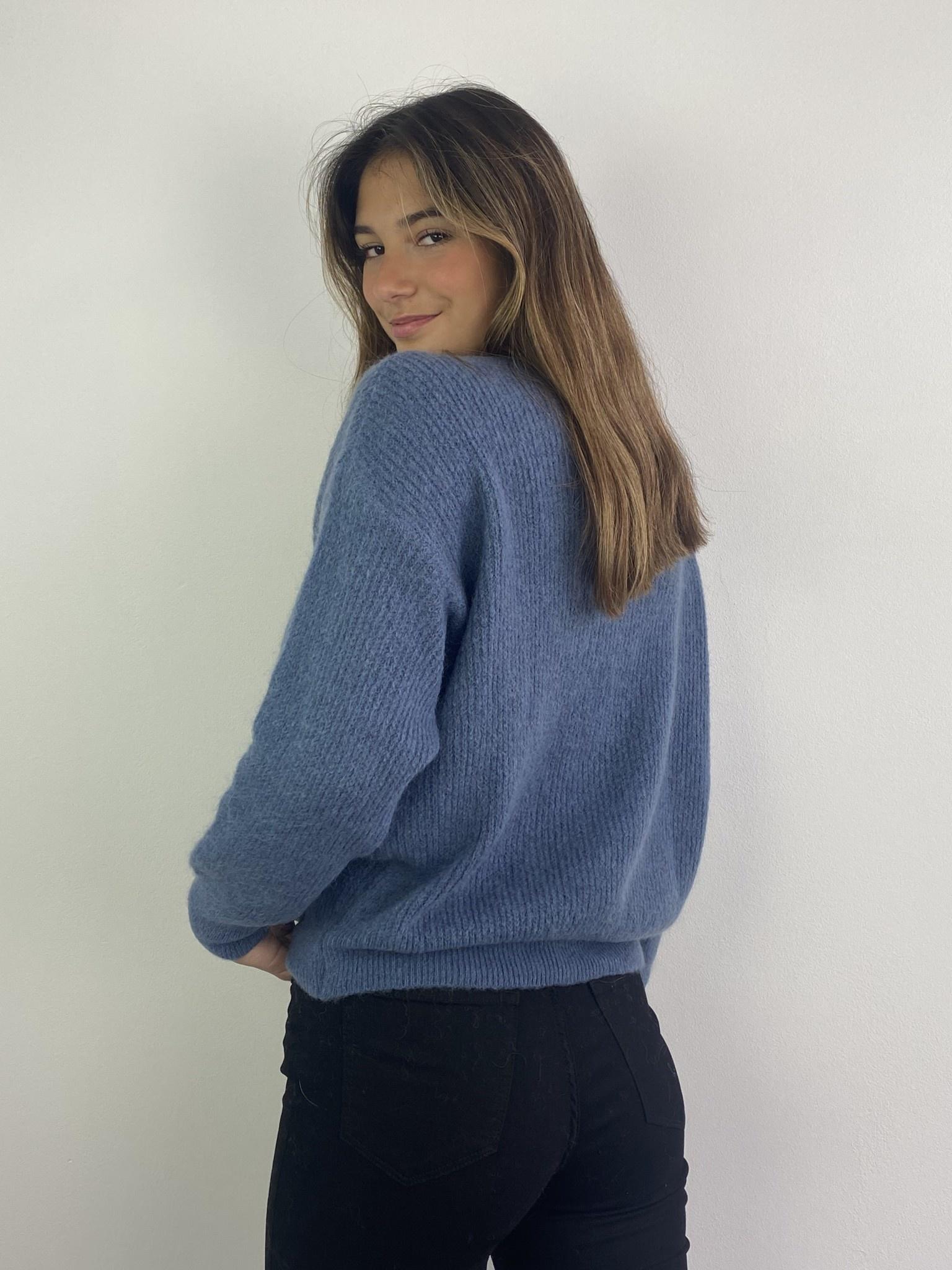Louna v-neck knitted pull Denim-2