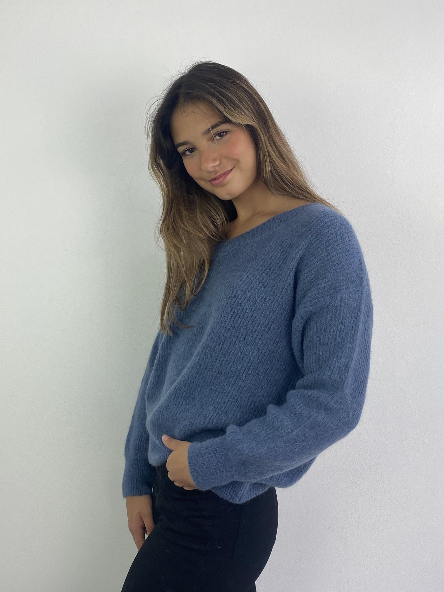 Louna v-neck knitted pull Denim-3