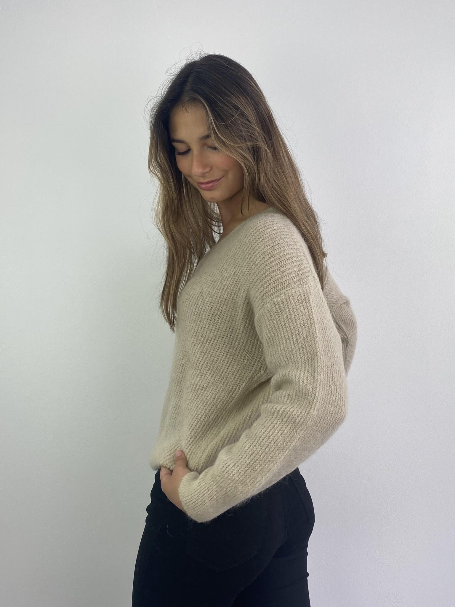 Louna v-neck knitted pull Beige-2