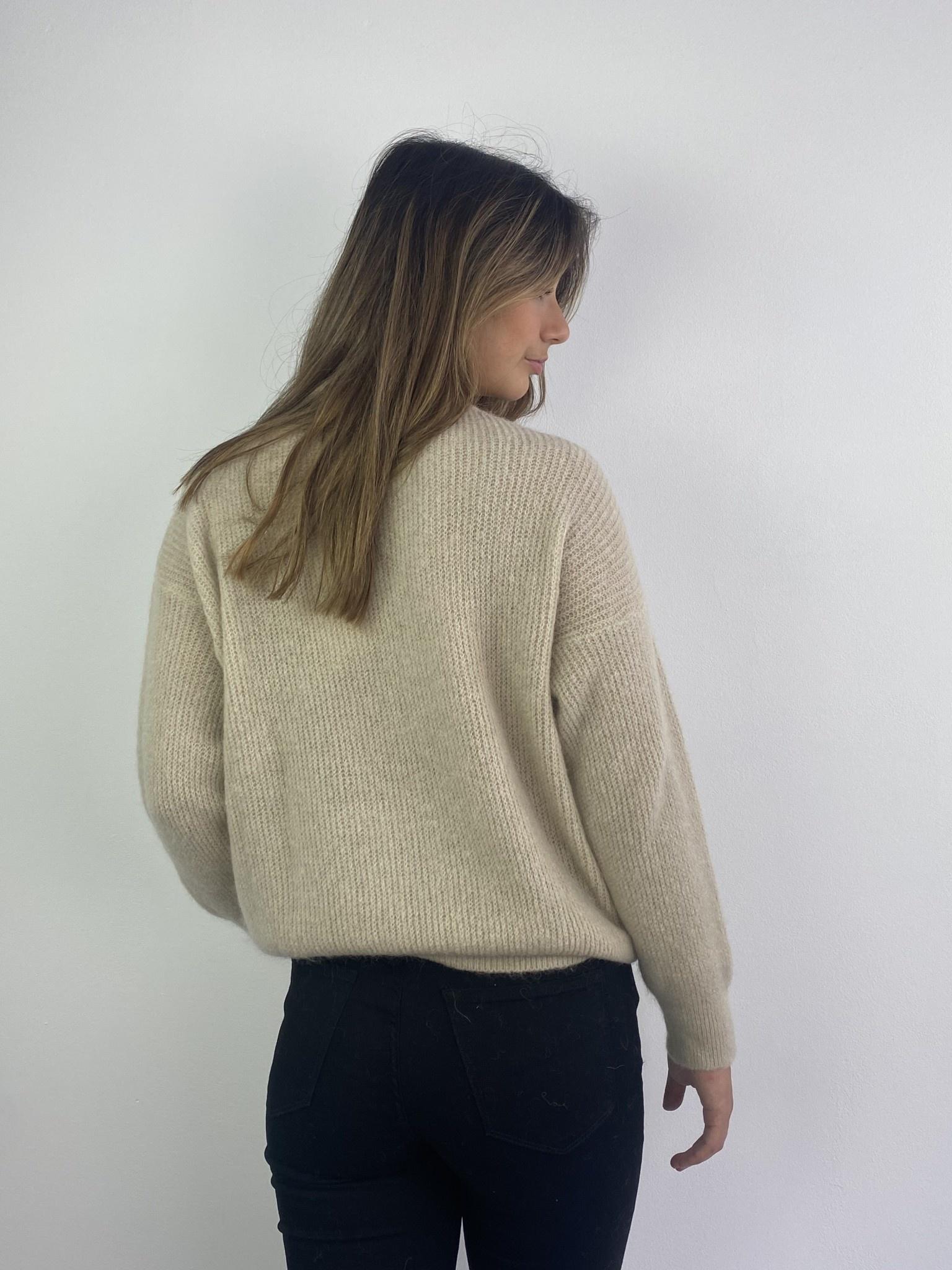 Louna v-neck knitted pull Beige-3