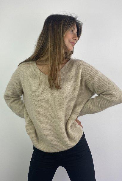 Louna v-neck knitted pull Beige