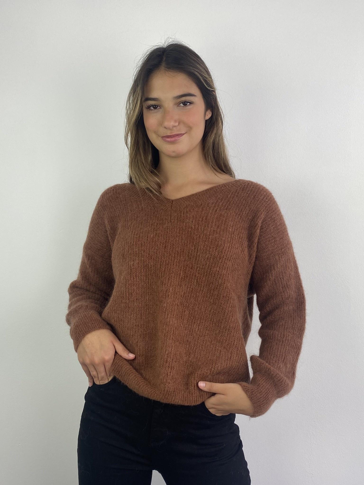 Louna v-neck knitted pull Chest-1