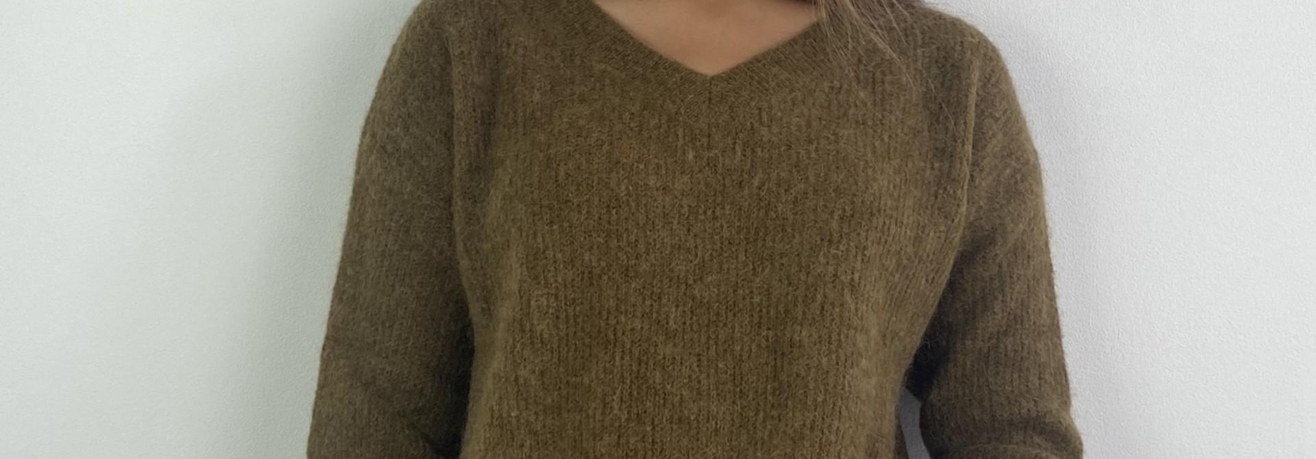 Louna v-neck knitted pull Bronze