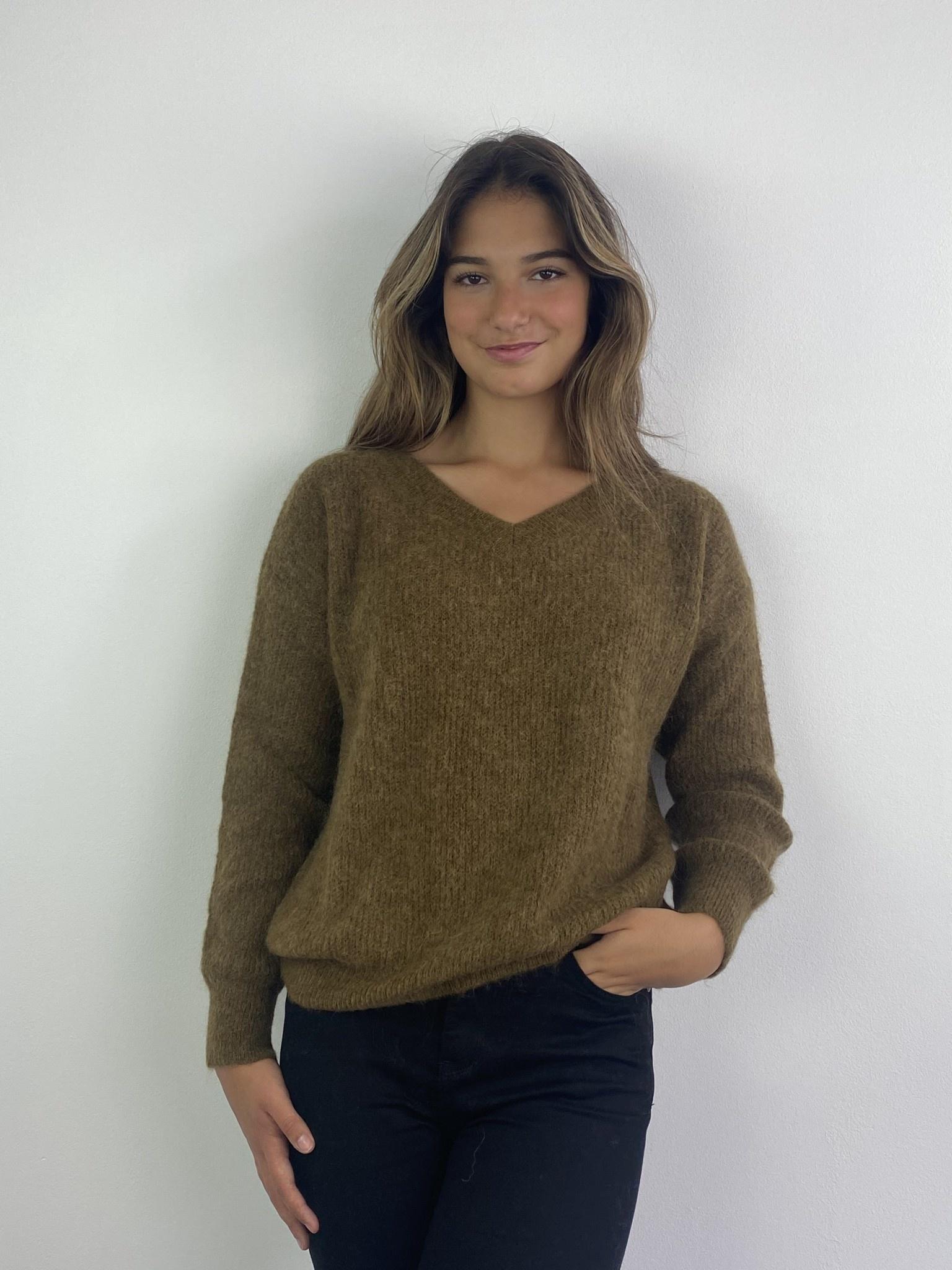 Louna v-neck knitted pull Bronze-1