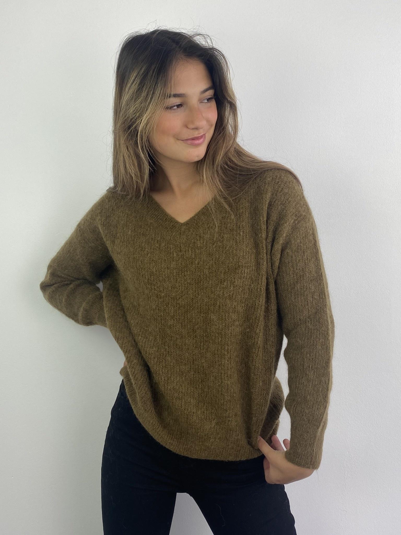 Louna v-neck knitted pull Bronze-2