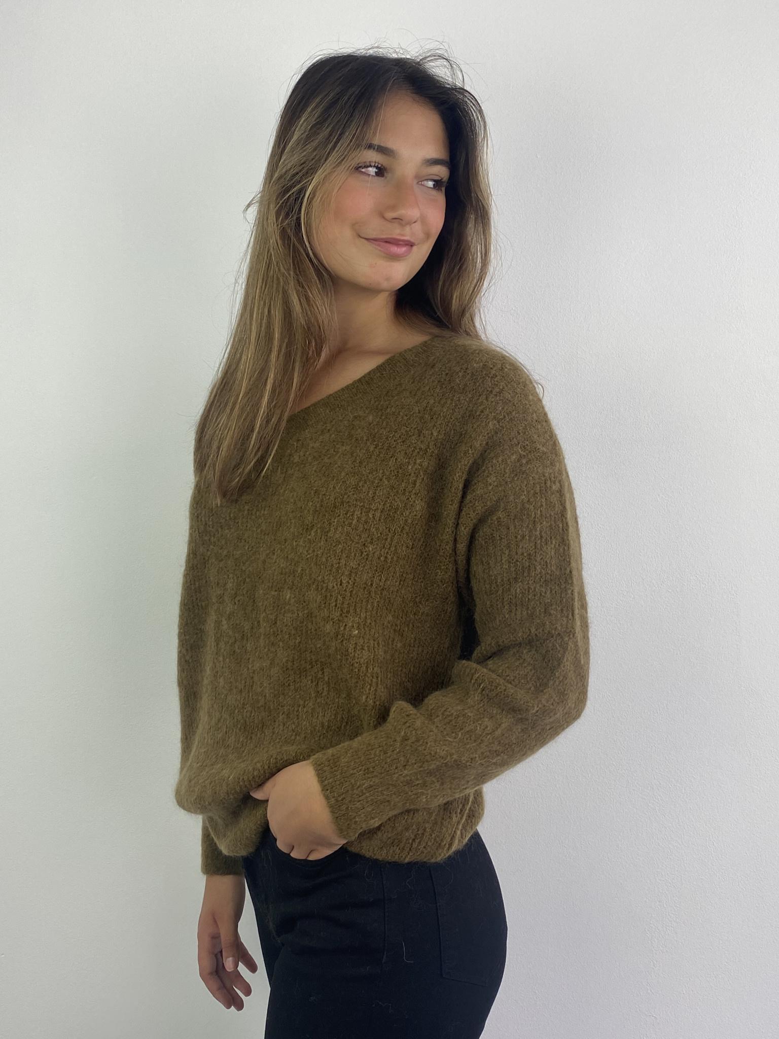 Louna v-neck knitted pull Bronze-3