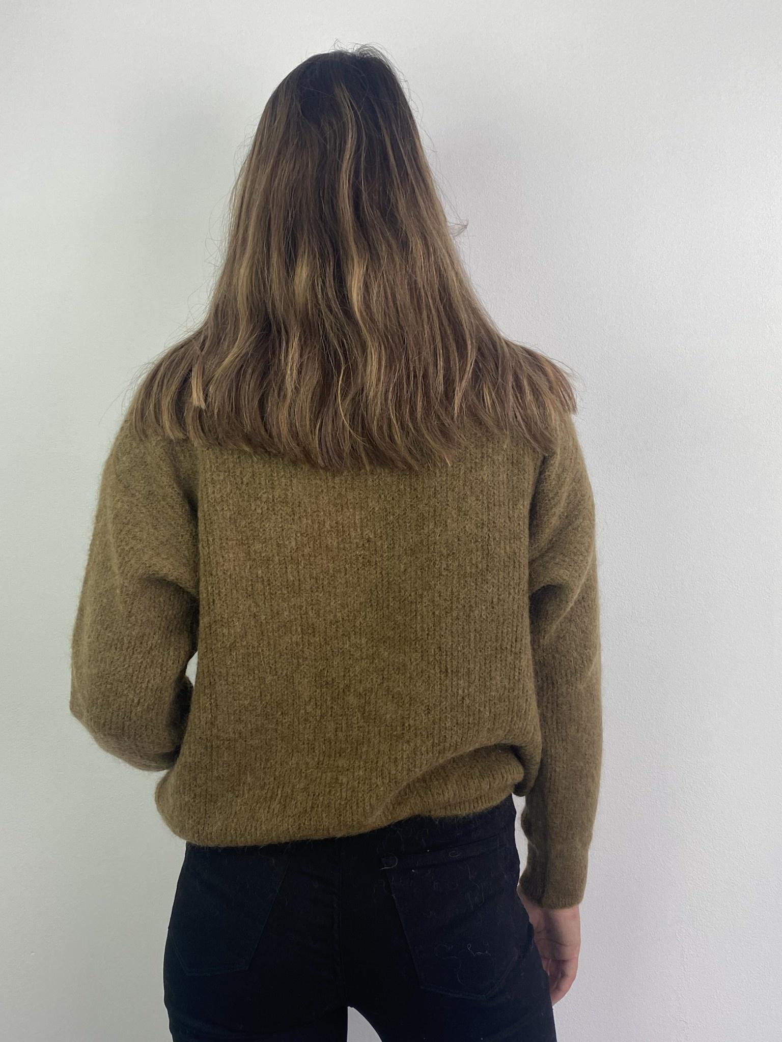 Louna v-neck knitted pull Bronze-4