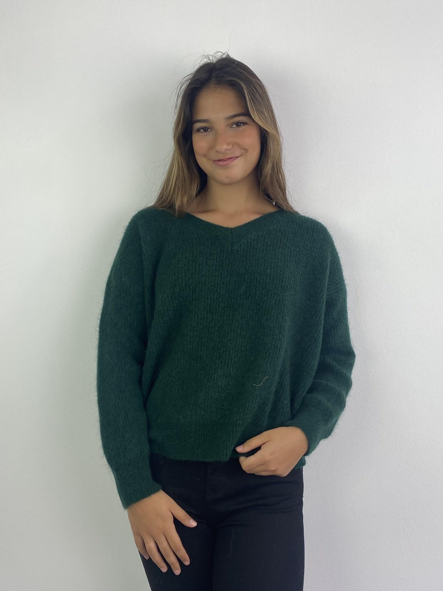Louna v-neck knitted pull Pine-2