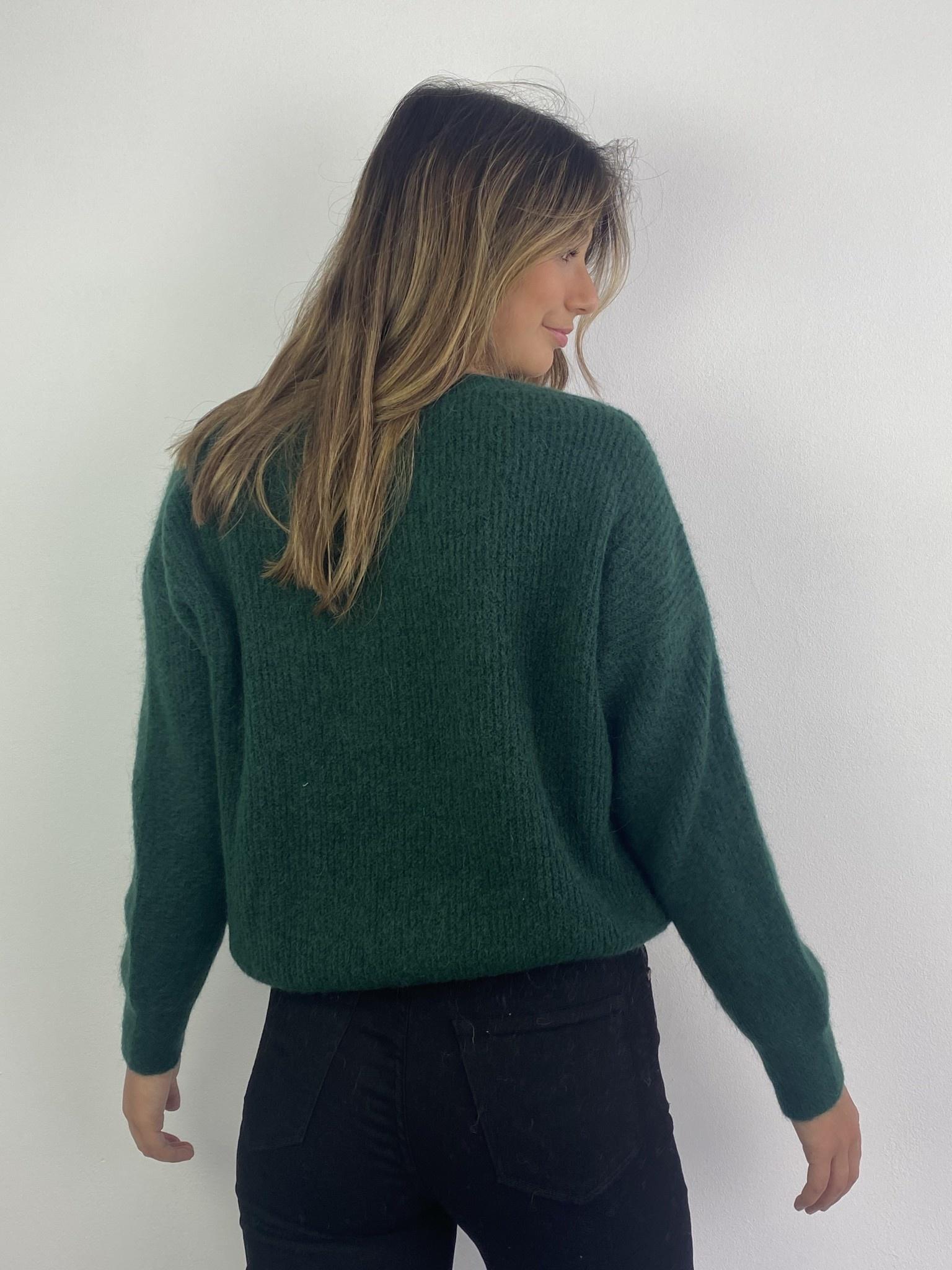 Louna v-neck knitted pull Pine-4