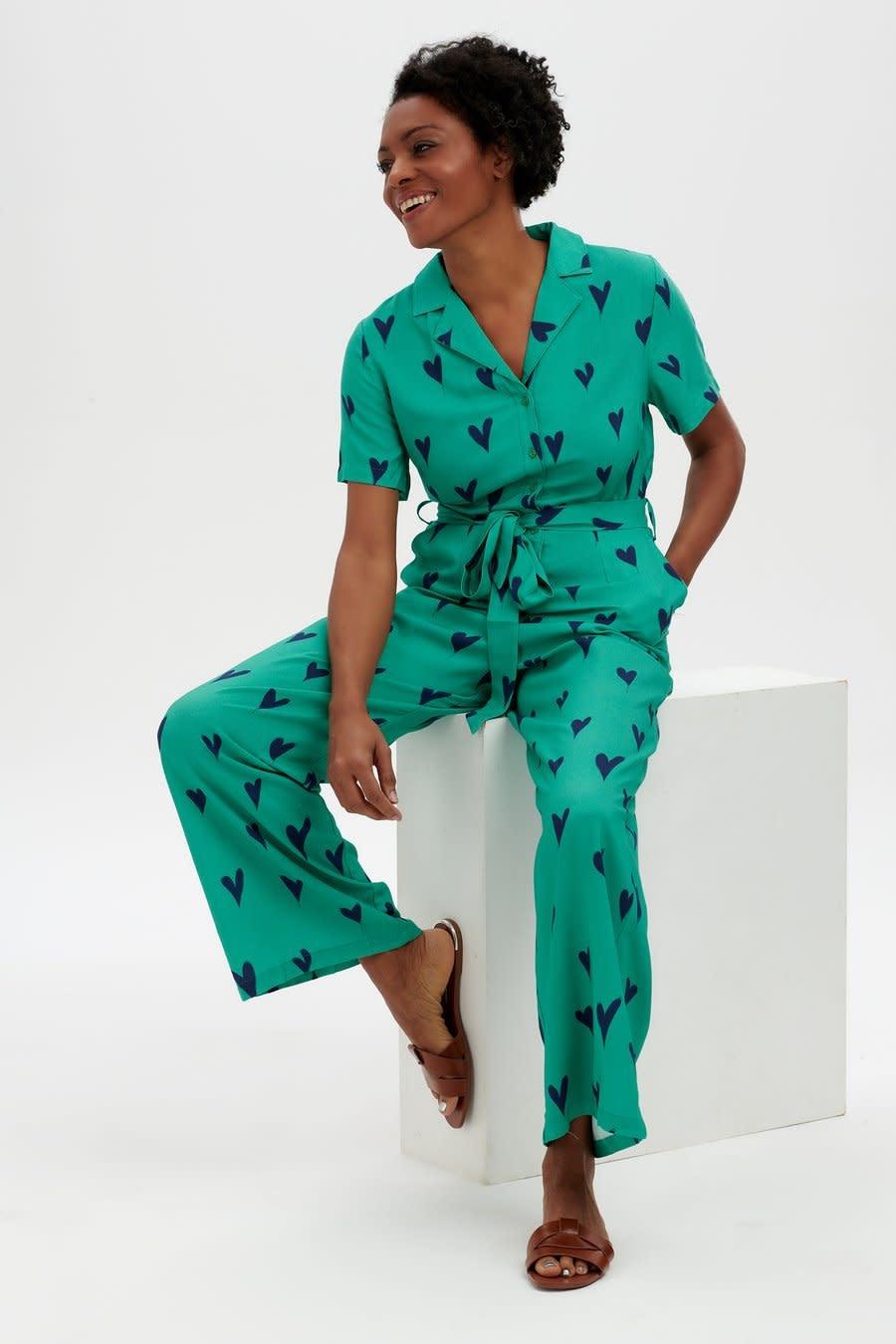 Hazel jumpsuit Green Hearts-1