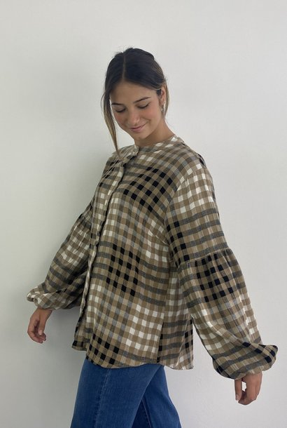 Bayle checkered ballonsleeve blouse Camel