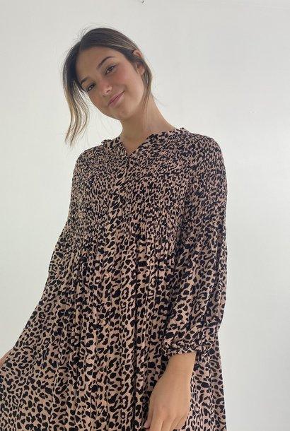 Nyce midi dress Camel Leopard
