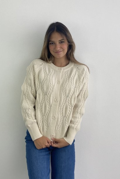 Raquel cable knitted cardigan Almond