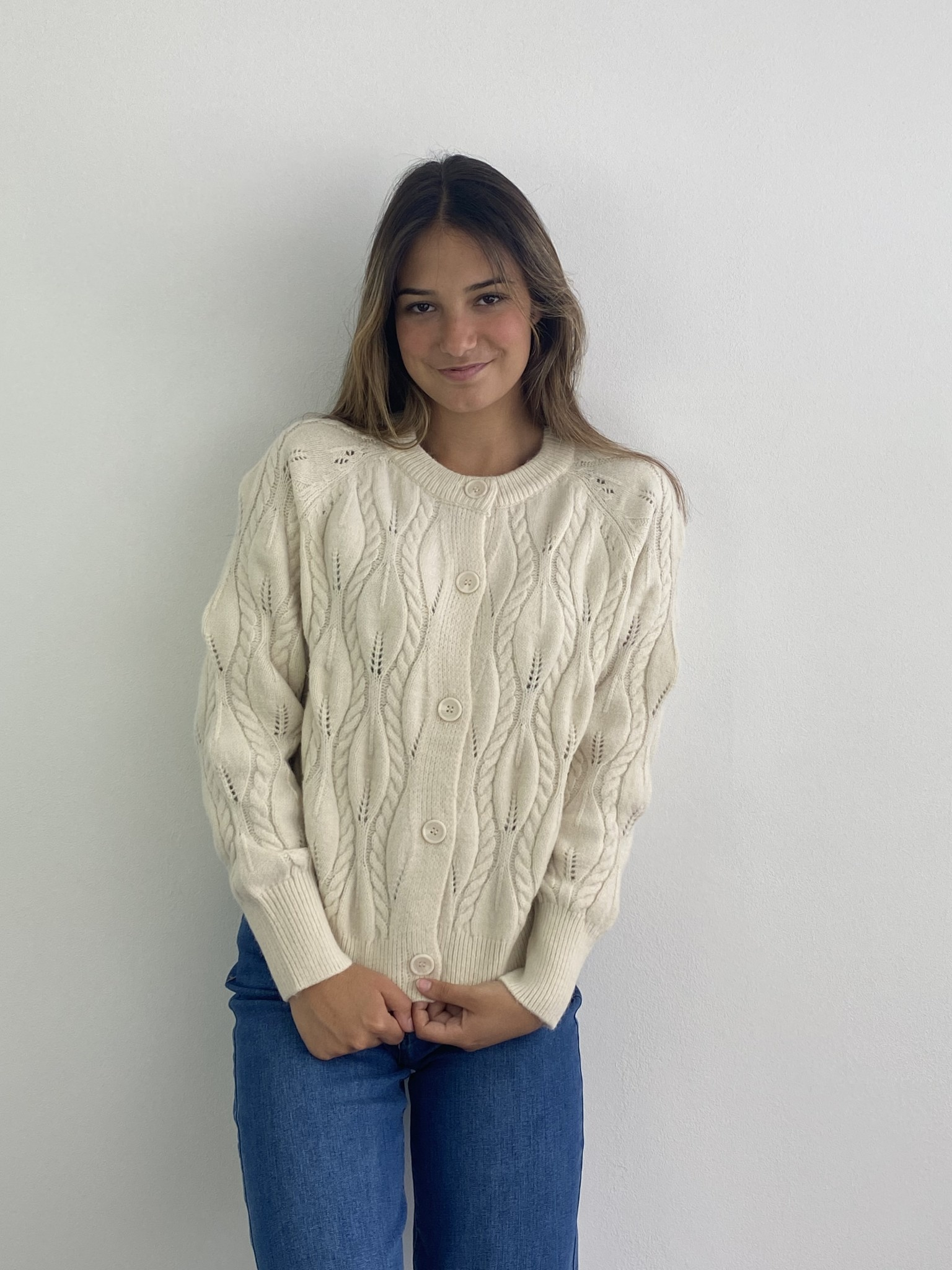 Raquel cable knitted cardigan Almond-1