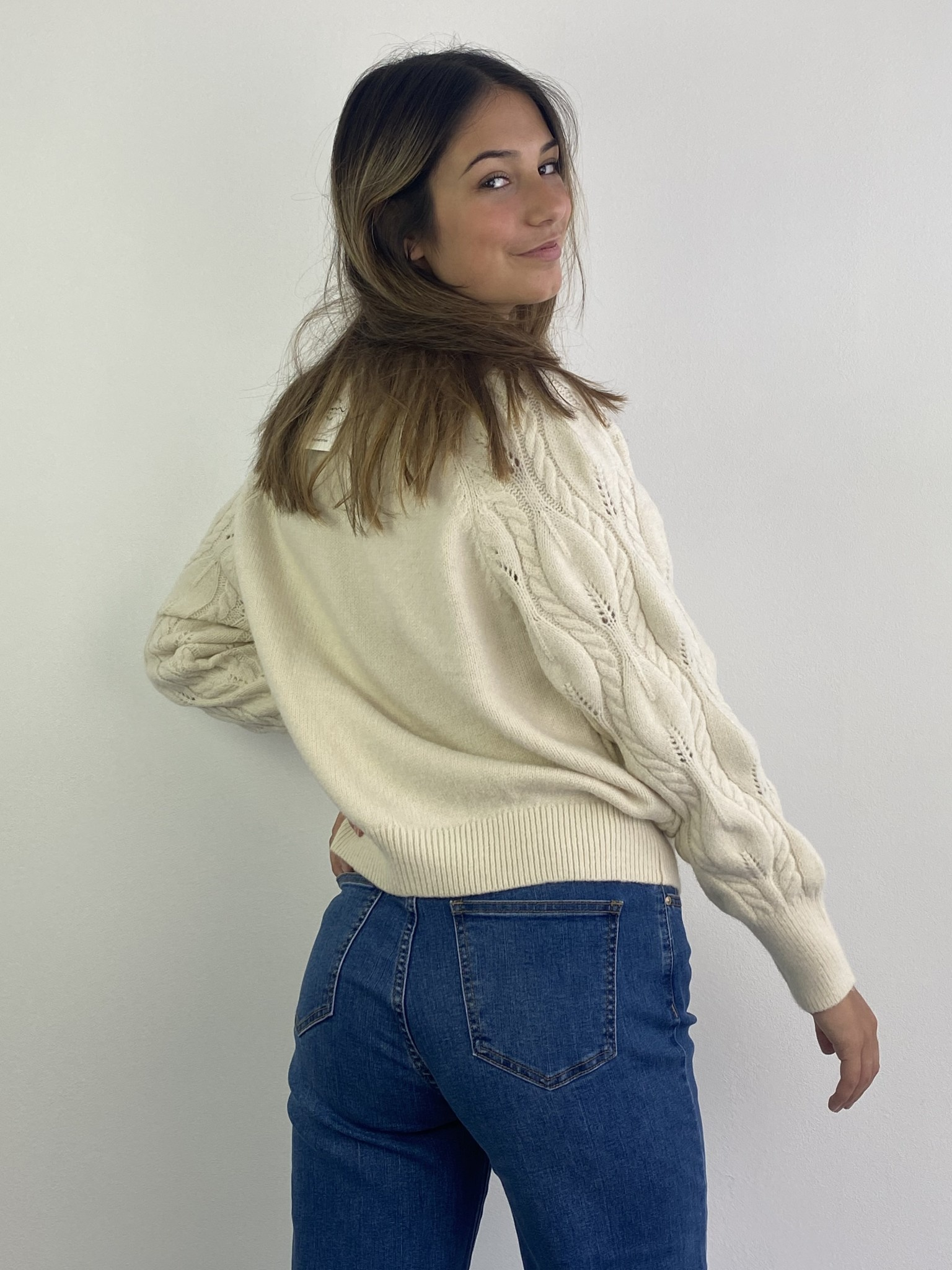 Raquel cable knitted cardigan Almond-2
