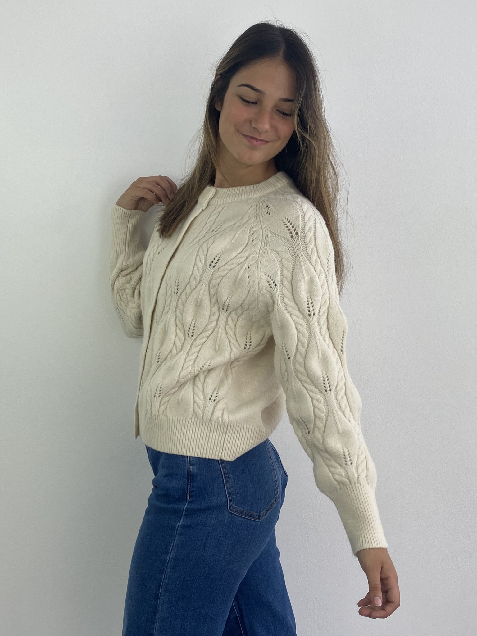 Raquel cable knitted cardigan Almond-3