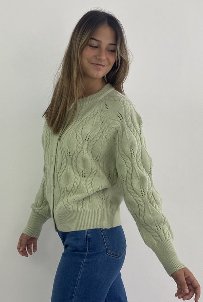Raquel cable knitted cardigan Moss
