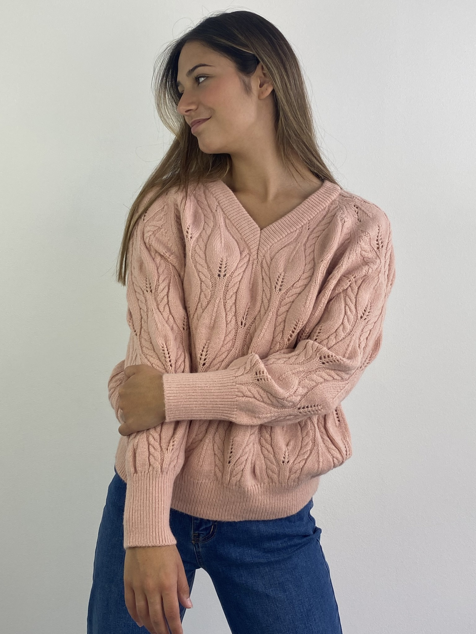 Raël cable knitted pull Rose-2