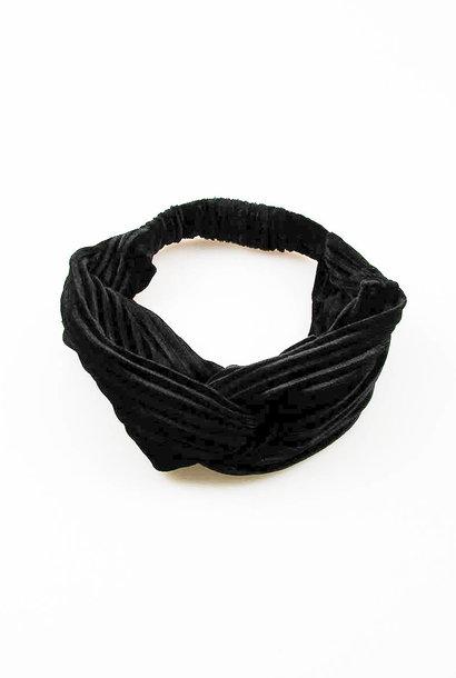 Olea pleated velvet hairband Black