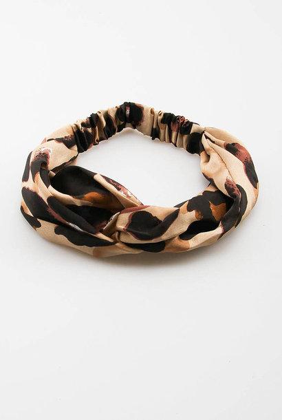 Morley satin hairband Leopard Naturelle
