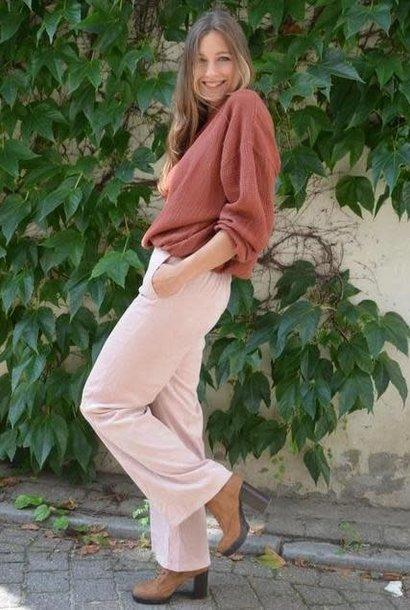 Charro corduroy wide pant Baby Pink