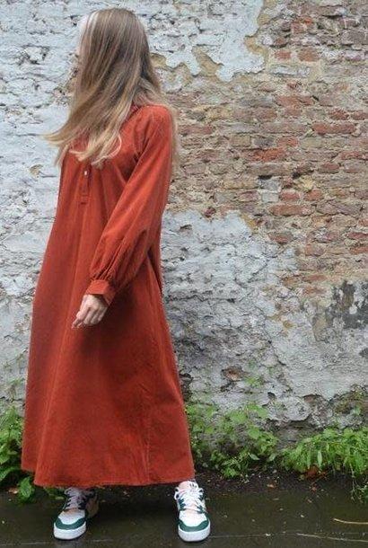 Erdoroy corduroy maxi dress Mattone