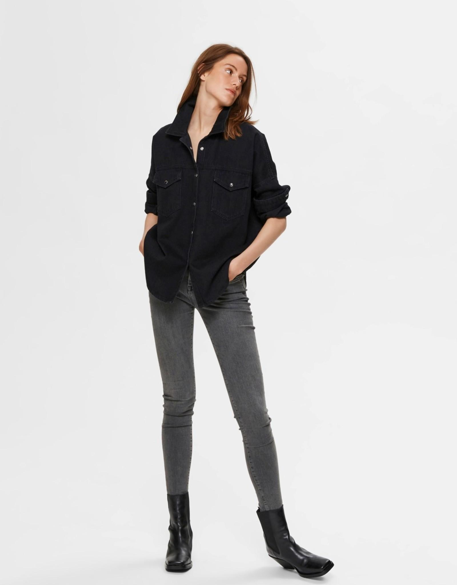 Selected Femme Ally Black Denim Shirt