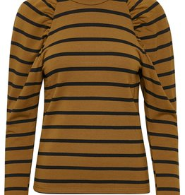 Gestuz Rifella Stripe Turtleneck Black Brown Stripe