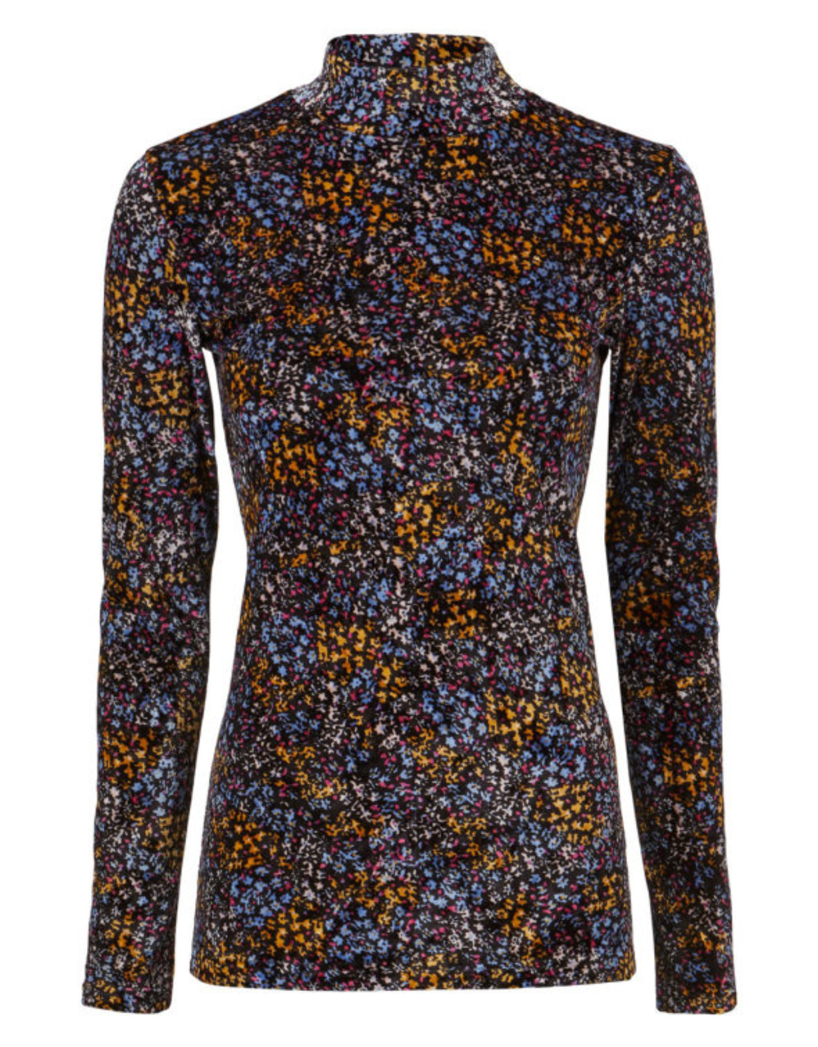 Modstrom Flip Print T-Neck Blue Poetry Flower