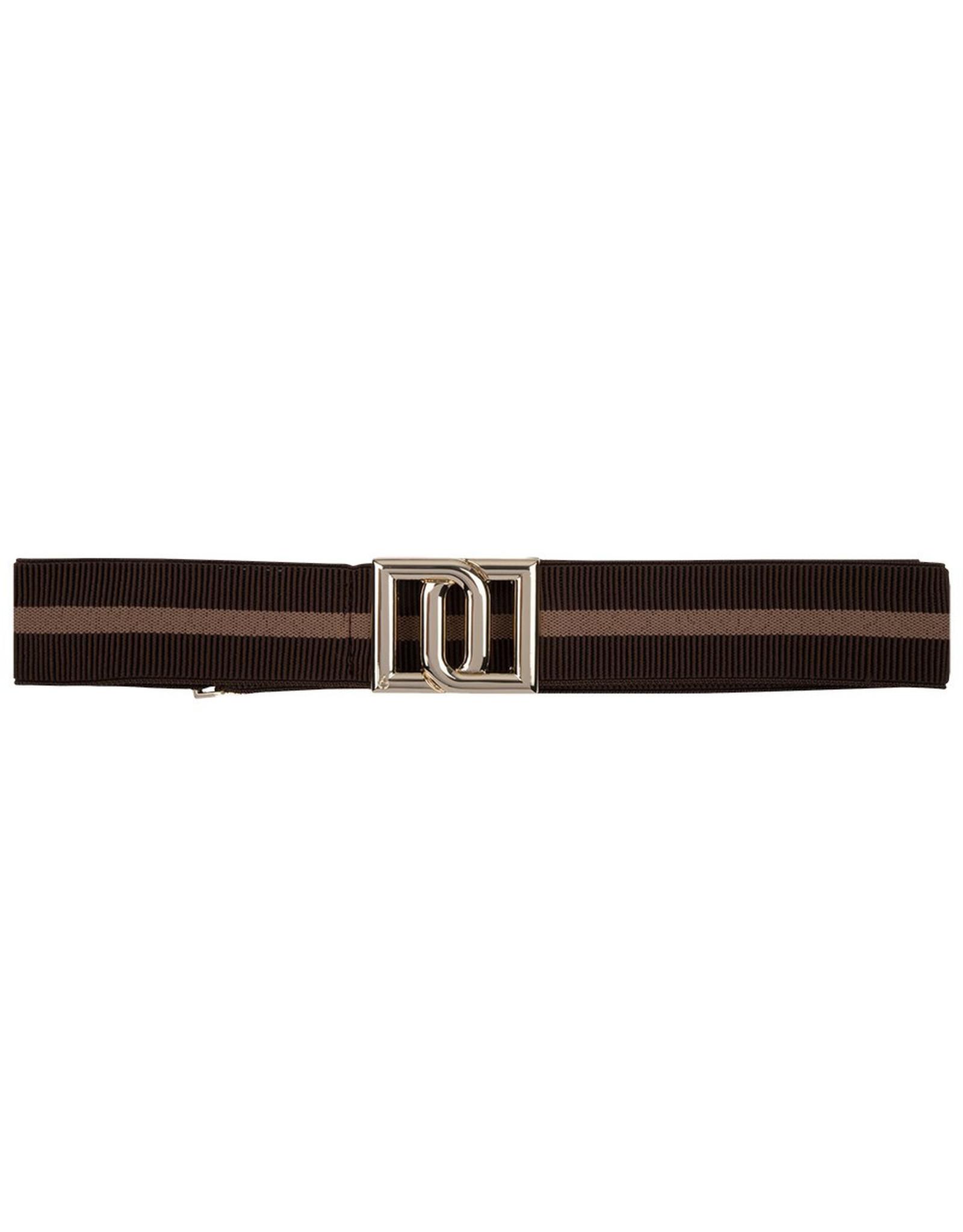 Dante 6 Monogram Belt Chocolate Stripe