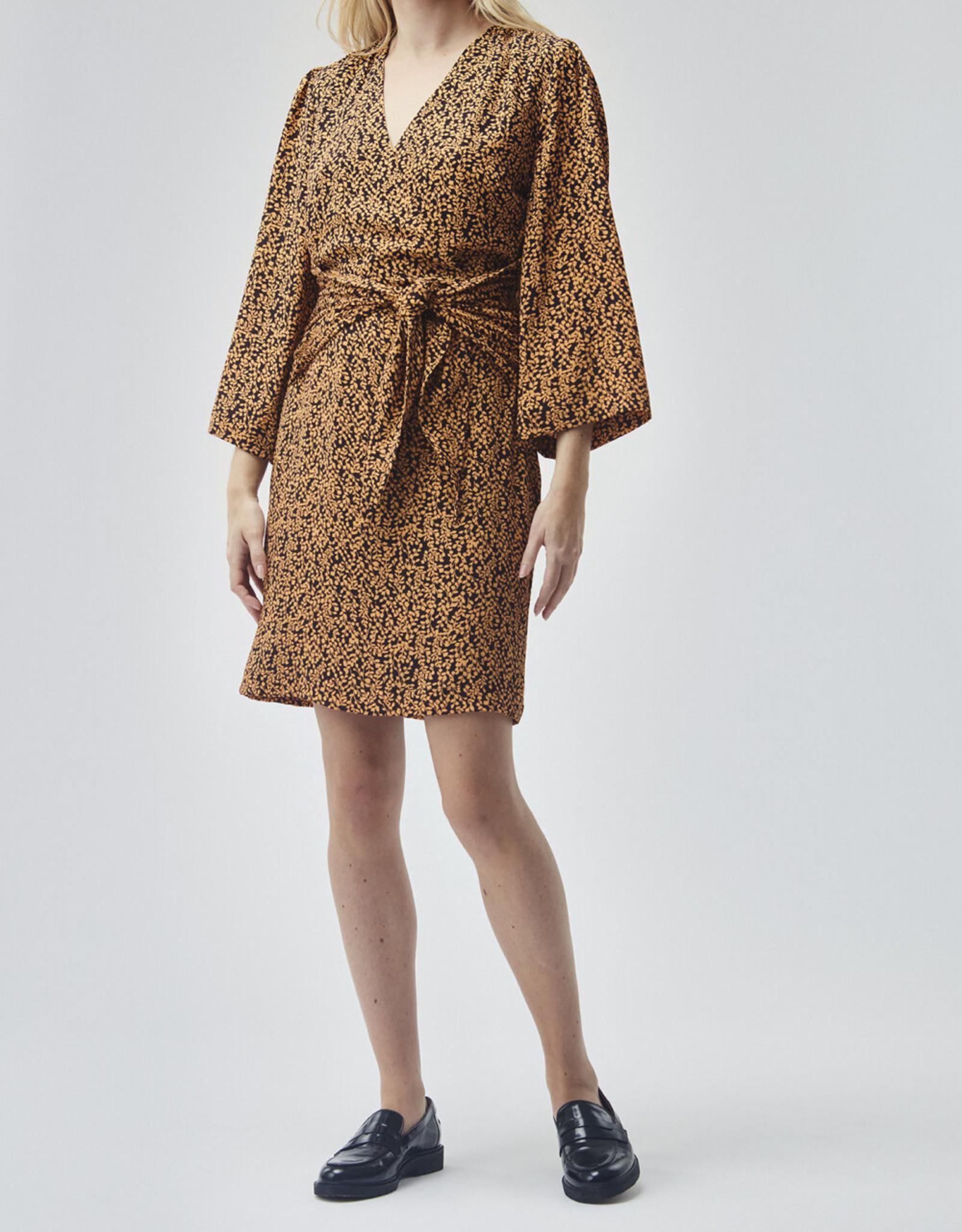 Modstrom Isabella Print Dress Apricot Leaf