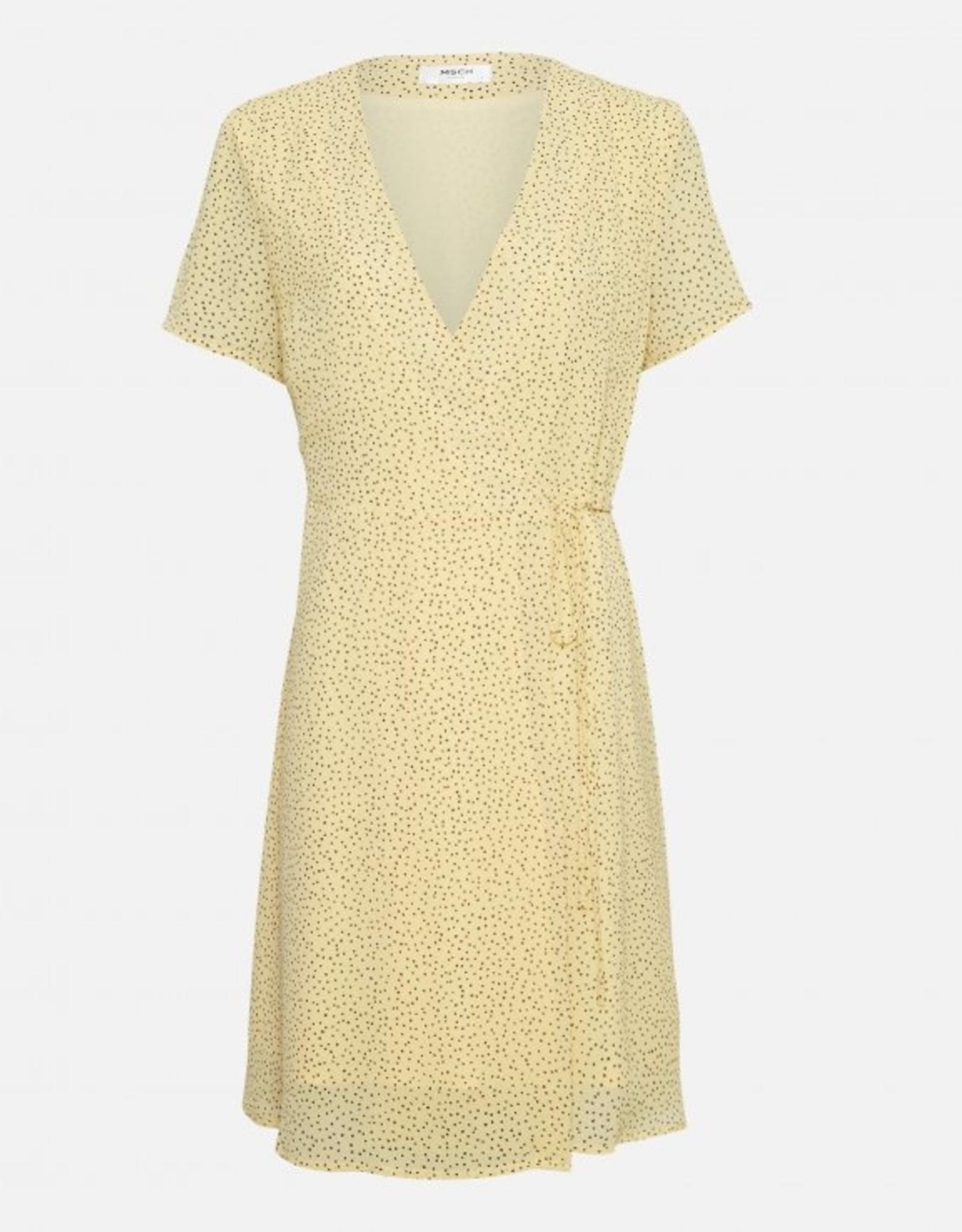 Moss Copenhagen Linoa Rikkelie Wrap Dress Pale Banana Dot
