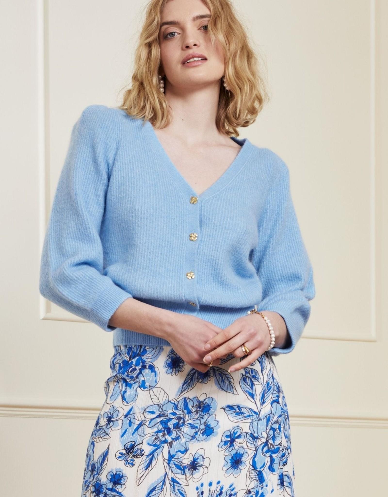 Fabienne Chapot Sally Cardigan 3/4 Sleeve Sky Blue