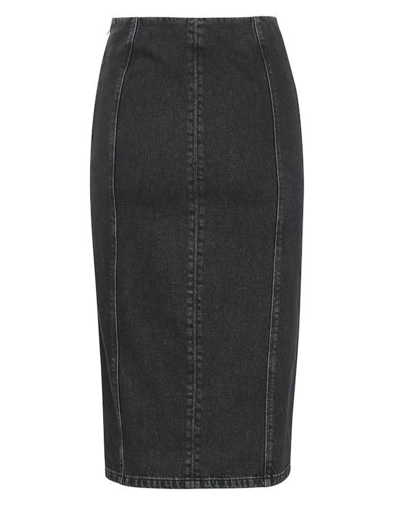 Gestuz Dena HW Midi Skirt Washed Black