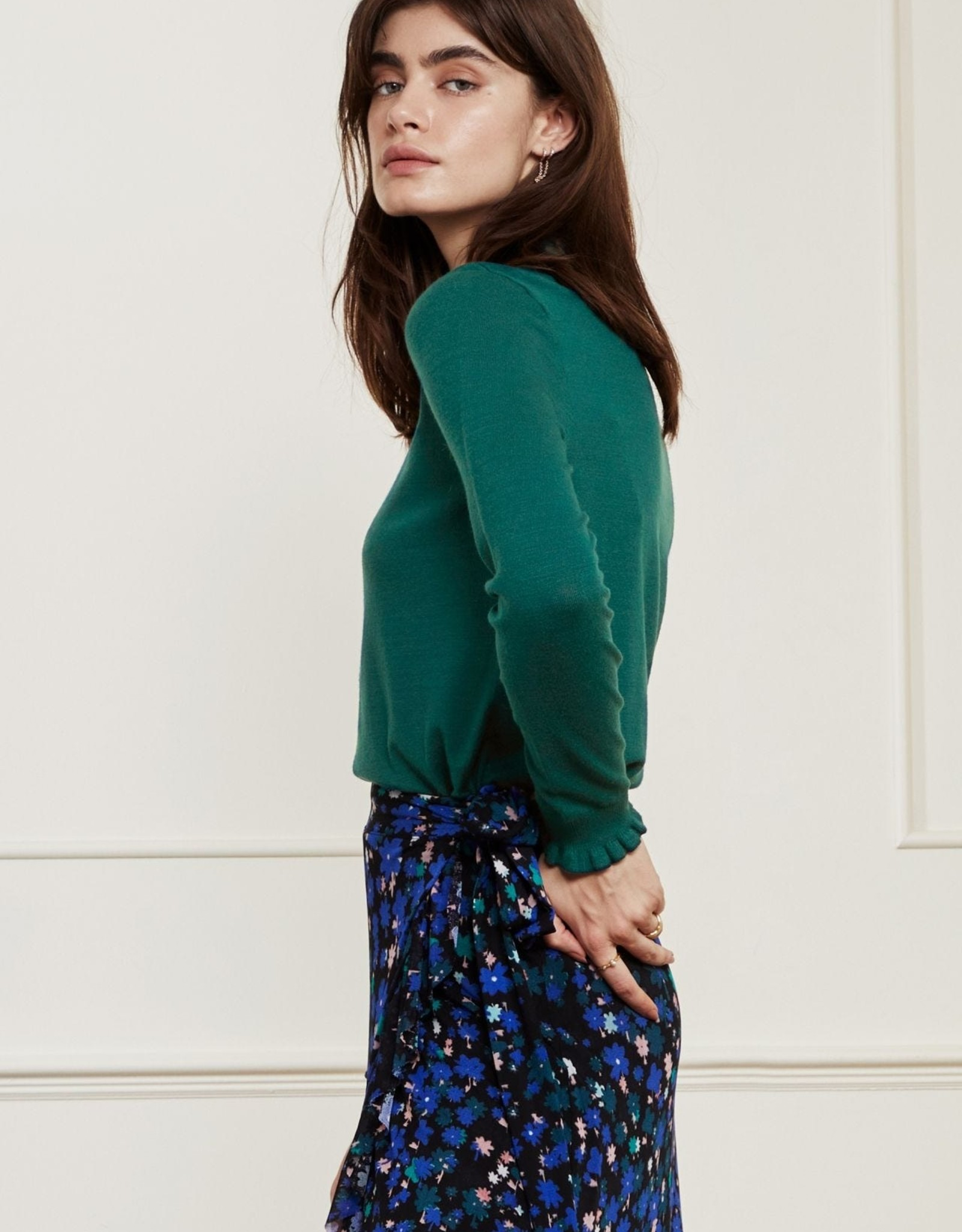 Fabienne Chapot Molly Frill Pullover Deep Teal