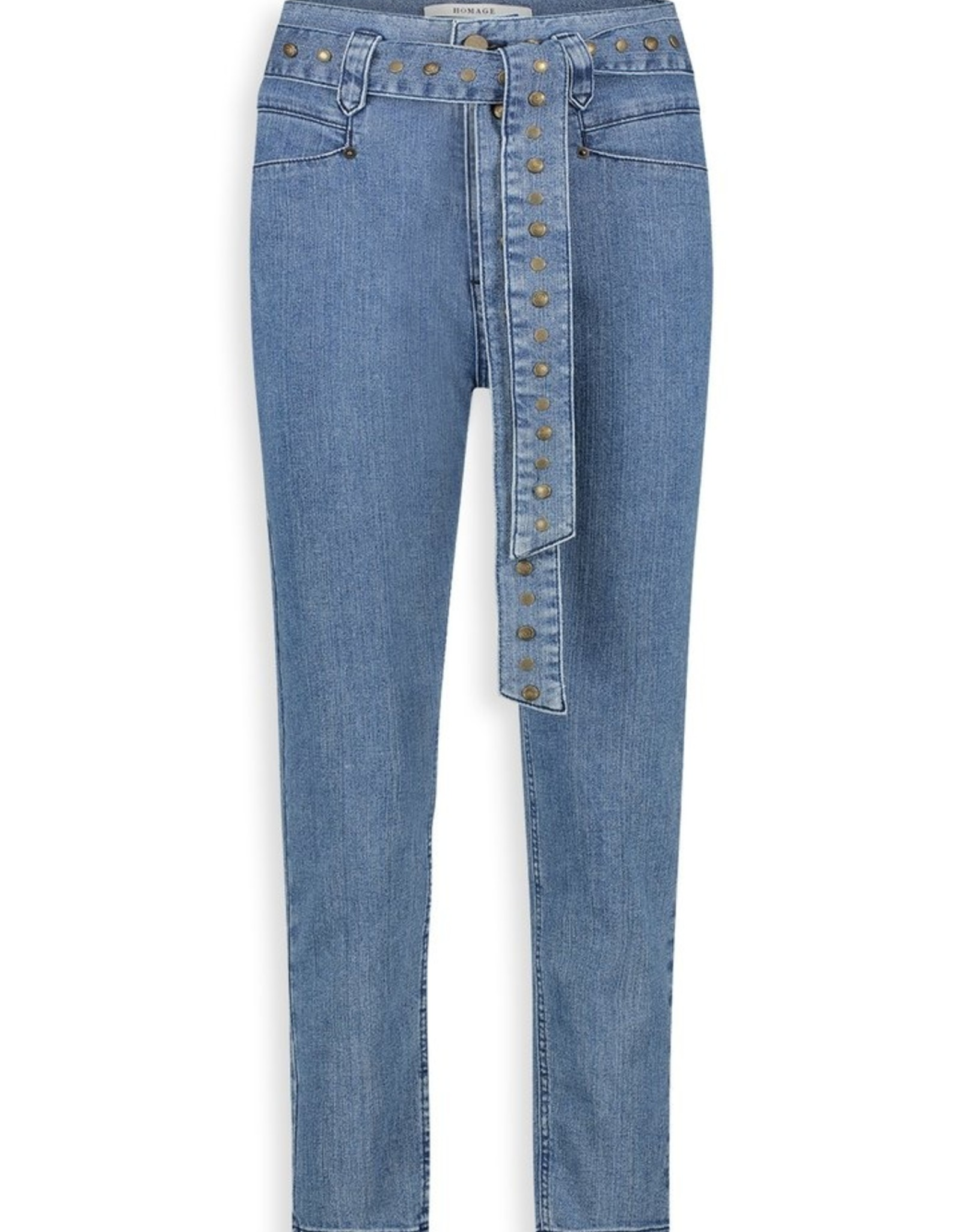 Homage Retro Inspired Jeans With Studs Mid Blue Sparkle