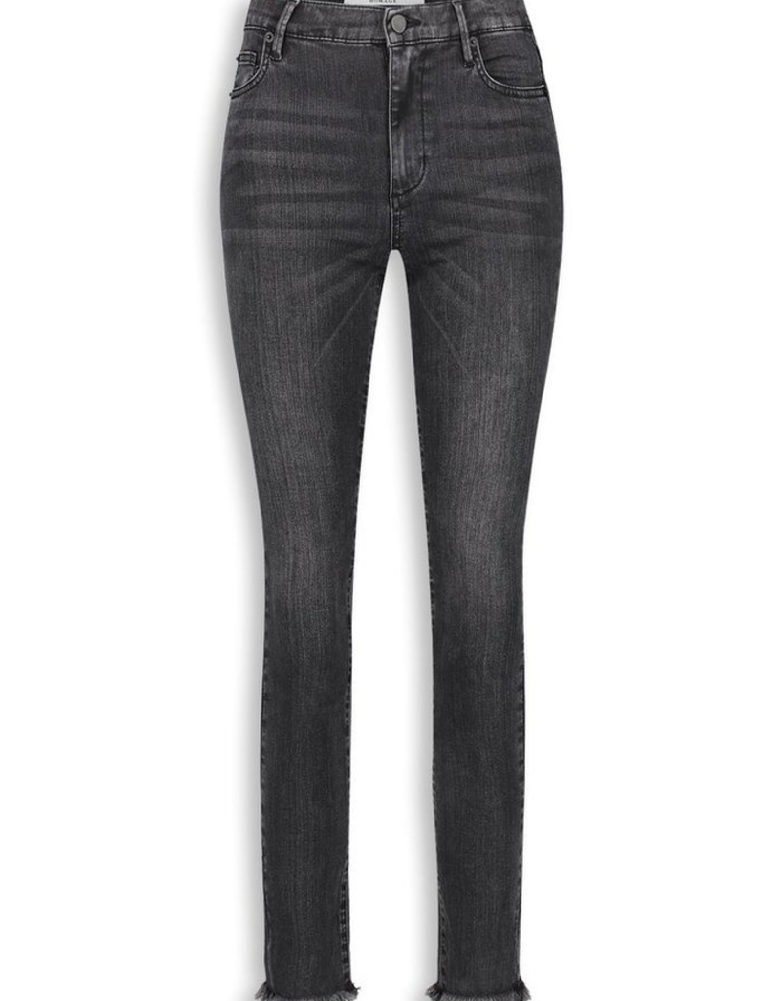 Homage Sarah Stretchy Straight Jeans With Frayed Hem Washed Black