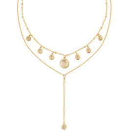 Necklace coin & layers gold