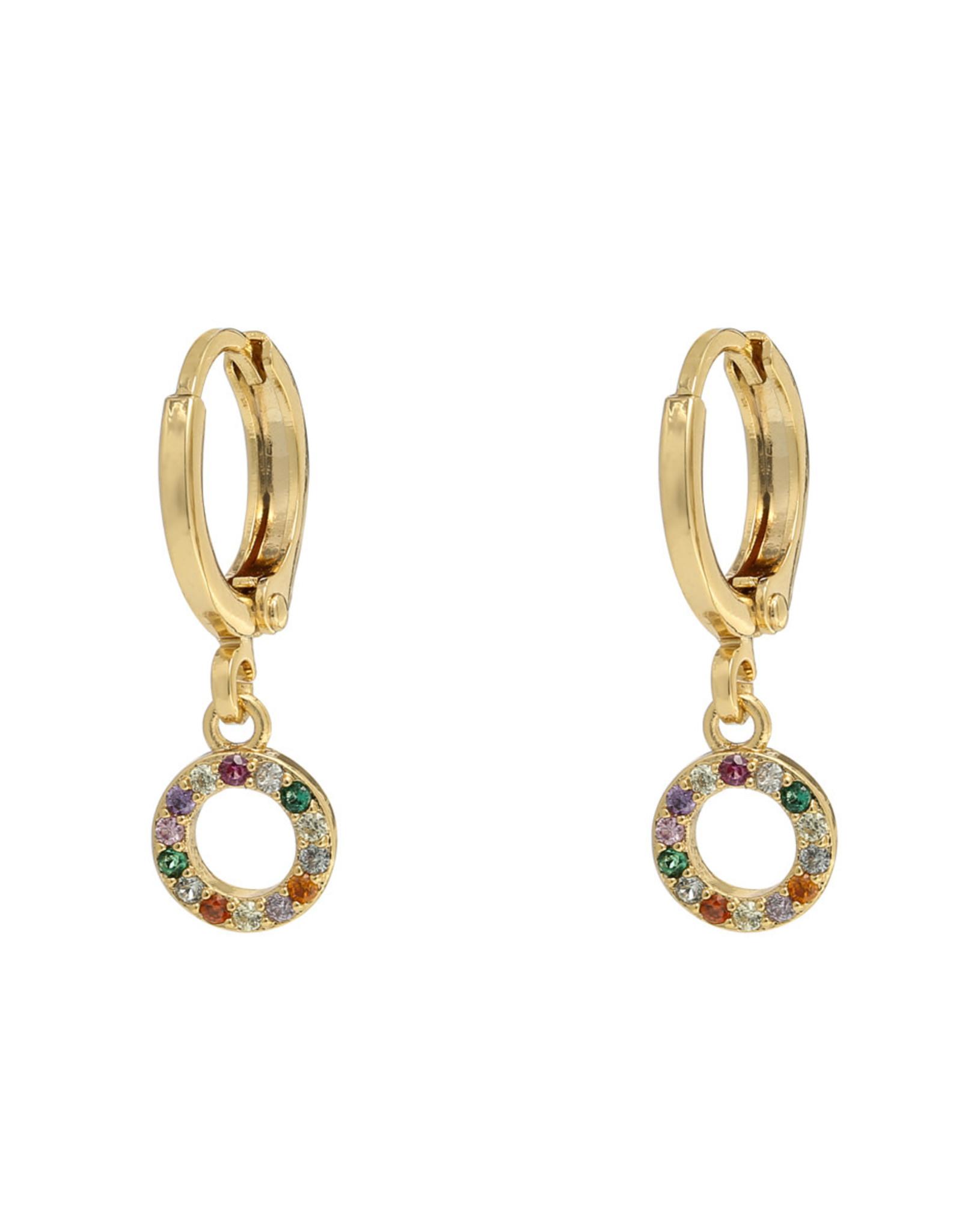 Earrings circle multi gold