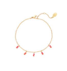 Bracelet red swirl gold
