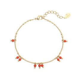 Bracelet red spring Stones gold